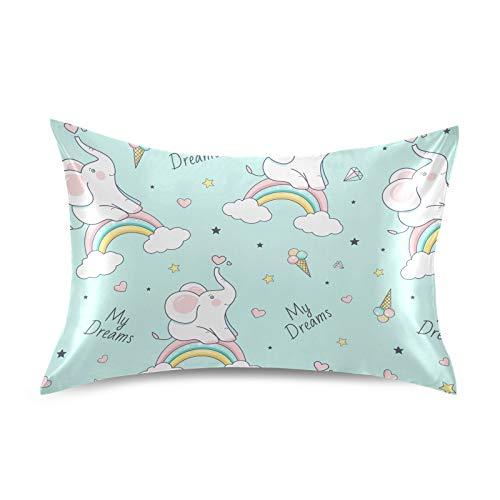 HaJie - Funda de almohada de satén con diseño de elefante y estrella arcoíris (100% poliéster, funda de almohada para cabello y piel, tamaño Queen 50,8 x 76,2 cm), 1 unidad