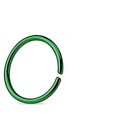 1.2MM x 10mm verde titanio anodizzato bordi arrotondati Ricotto senza saldatura Tragus, cartilagine o Setto Piercing
