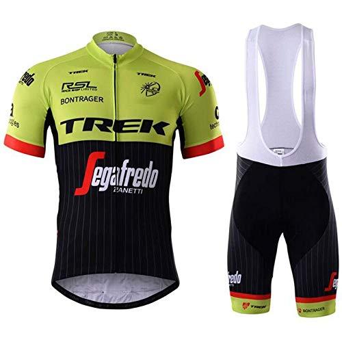 WOLFIRE WF Abbigliamento Ciclismo da Uomo. Culotte e Maillot. con Gel Pad 5D. per MTB, Spinning, Road Bike. Squadra Professionale (Trek Bicolor, L)