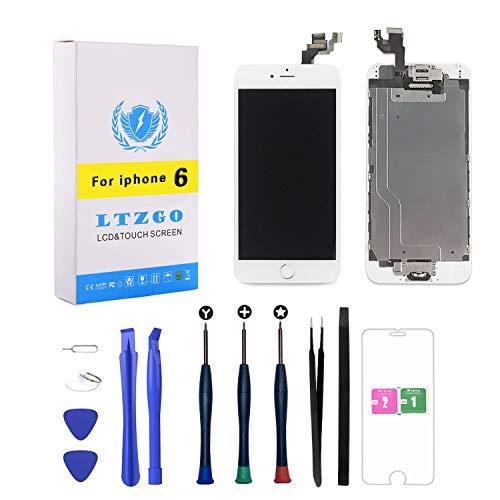 LTZGO Ersatz LCD Display für iPhone 6 Weiß mit Reparaturset Werkzeuge Set Touchscreen Bildschirm Digitizer vormontiert mit Home Button, Hörmuschel, Frontkamera,Näherungssensor