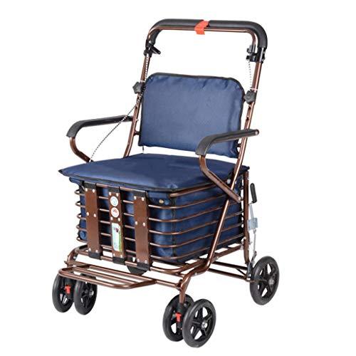 Vierrädriger Einkaufswagen für ältere Menschen, EIN Rollator mit Rollsitzen, Sitzrollwagen (Farbe : Dunkelblau)