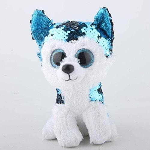 SongJX-Love 15cm Sluck der Husky-Hunde-Pailletten-Plüsch-reguläre Stofftier-Sammlung weiche große Augen-Puppe-Spielzeug Gzzxw