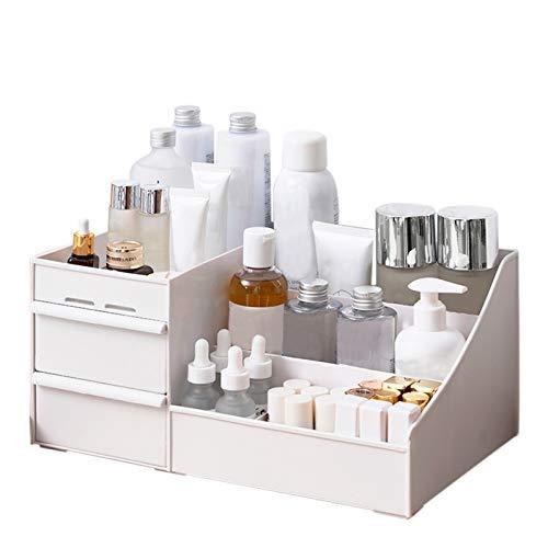 CQWW - Organizer per trucchi con 2 cassetti, quadrato, in plastica, a torre di cassetti compatte, per trucchi, cosmetici, colore: Bianco… (A)