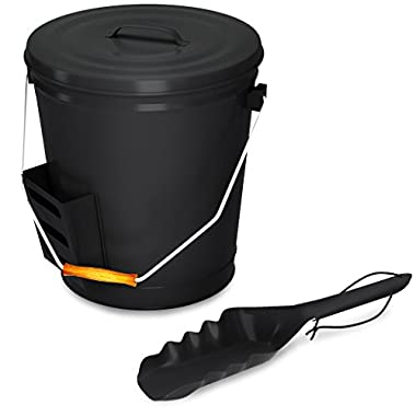 Black Ash Bucket with Lid and Shovel For Fireplace - Great Wood Stove Ashes Accessories