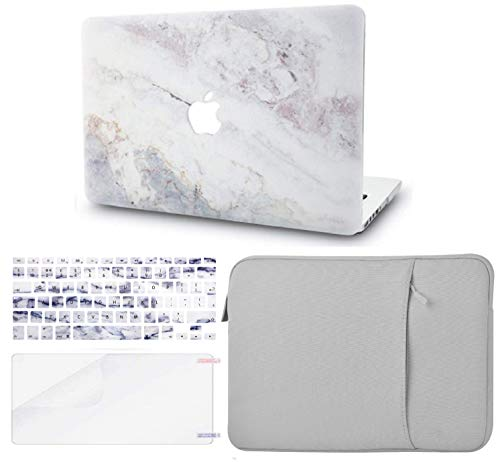 KECC MacBook Pro 13' Case (2020/2019/2018/2017/2016) w/UK Keyboard Cover Plastic Hard Shell + Sleeve + Screen Protector A2159/A1989/A1706/A1708 Touch Bar (White Marble 2)
