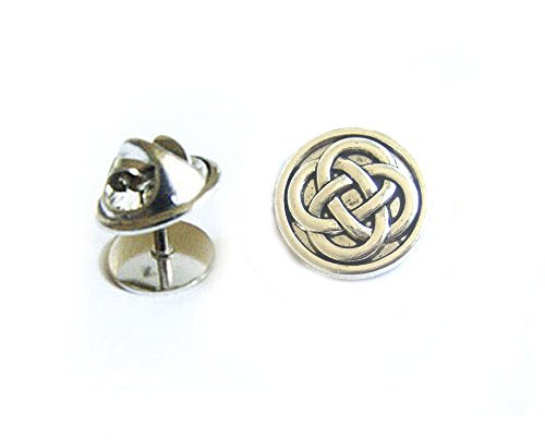 Celtic Tie Tack, Antiqued Silver Round Celtic Tie Pin