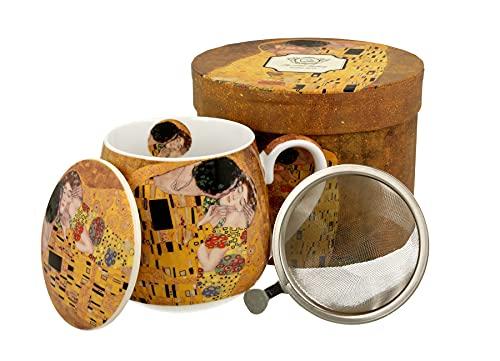 DUO Colección Art Gallery by Gustave Klimt The Kiss - Juego de 3 tazas de té con infusor y tapa de porcelana china de New Bone China en caja de regalo, con colador de té, taza con filtro