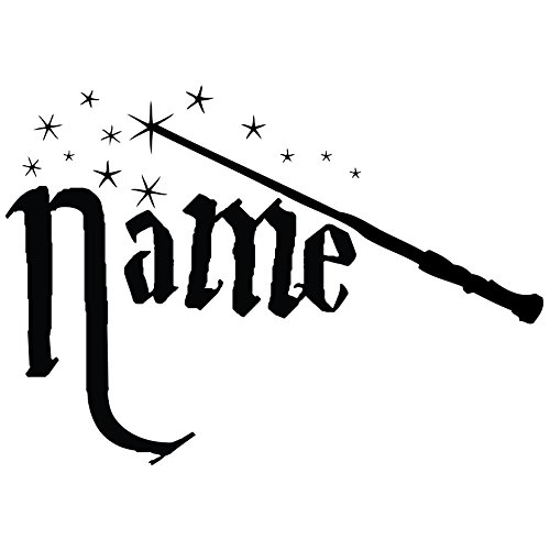 Custom Potter Wand Vinyl Decal Sticker with Your Name (12x8 inch, Matte Black)