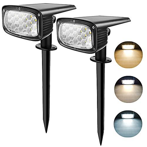 Luci Solari da Esterno, LangRay 34 LEDs Faretti Solari a Paesaggio Luce Solare Impermeabile da Giardino,2-in-1 Installazione a 3 Modalità per Corridoio Patio,2 Pack