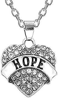 Legisdream Collar Mujer corazón Colgante Escrito Esperanza Esperanza Diamantes de imitación Transparentes Strass