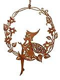 Unbekannt Dekohänger Elfe im Blumen Kranz Metall Natur Rost 21x26cm Gartendeko Fensterdeko