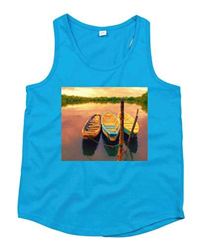 Druckerlebnis24 - Camiseta de Tirantes Unisex para niños y niñas Azul 128