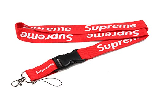 Supreme Lanière double face rouge style urbain branché Peut servir de porte-clés, de tour de cou et d'attache pour téléphone portable et accessoires.