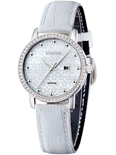 MLHXHX Reloj de mujer de alta gama correa de cuero con diamantes y perlas Shell reloj blanco