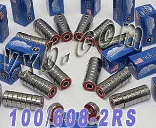 Pack of 100 Sealed Skateboard/Inline/Rollerblade Skate Bearing Ball Bearings 608-2RS VXB Brand
