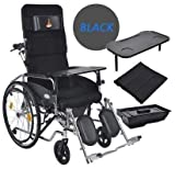 Dljyy Tragbare medizinische Stuhl mit 180 ??Verstellbare Rückenlehne - Faltbare Rollstuhl - Sitz-abnehmbare Tisch-Kommode for senioren & Ampvfdh/Grau (Color : Black)