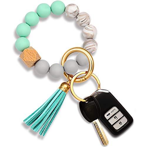 Silicone Bead Keychain Bracelet Large Keyring Elastic House Car Key Ring Wristlet Bangles