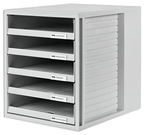 HAN Schubladenbox SCHRANK-SET – attraktives Design für Unterlagen bis DIN C4, mit 5 offenen Schubladen, lichtgrau, 1401-11