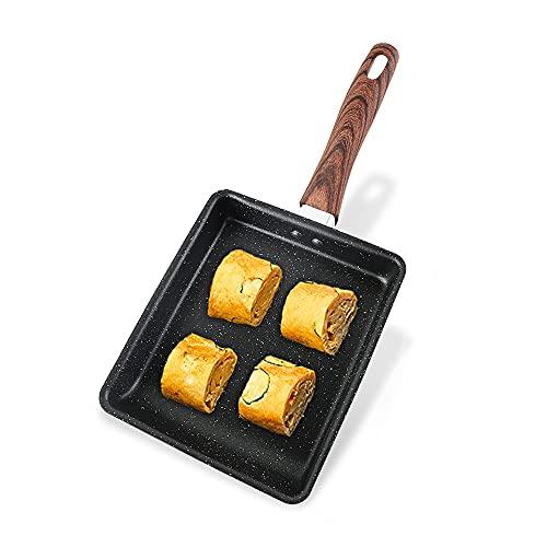 Japonesa Cuadrada Antiadherente Sartén para Tortillas, Tamagoyaki Pequeña Fritura Sartenes Loto Biónica Hoja Coating Incluso Conducción de Calor Anti-Scalding Mango, para Todas E(Size:Grande,Color:A)