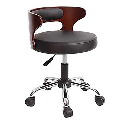 Preisvergleich Produktbild LJWLCH höhenverstellbarer Hocker mit Rückenlehne Drehstuhl Arbeit Labor Büromöbel Schönheitssalon Barhocker Hebestuhl schwarz weiß Retro braun-black1