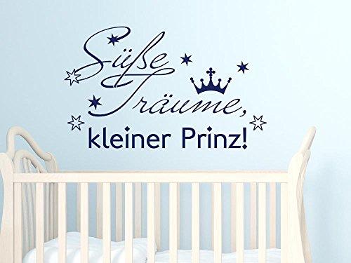 GRAZDesign Sprüche Zur Geburt Wandtattoo Schlafen/Sterne Krone - Babybett Aufkleber Süße Träume Kleiner Prinz - Wandtattoo Babyzimmer / 82x50cm / 822 Water Lilly