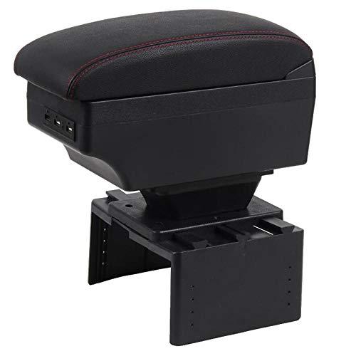 Almacenamiento de coches Reposabrazos para Daewoo Nexia V1 Consola central Caja de almacenamiento de cuero Caja de contenido de cuero con soporte de copa Accesorios de cenicero Coche Stylin B Negro Lí