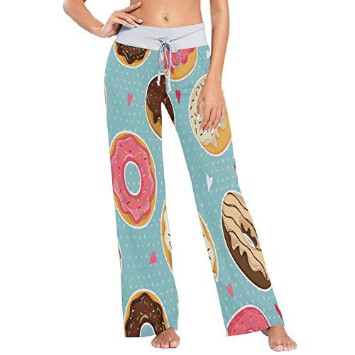 Pantalones de Pijama para Mujer, Pantalones de Yoga, Leggings Inferiores, Pantalones de salón de Cintura Alta, Donuts Coloridos y Bonitos