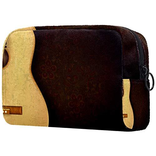 KAMEARI Bolsa de cosméticos vintage guitarra con fondo rojo oscuro flor grande cosmético organizador multifuncional bolsas de viaje