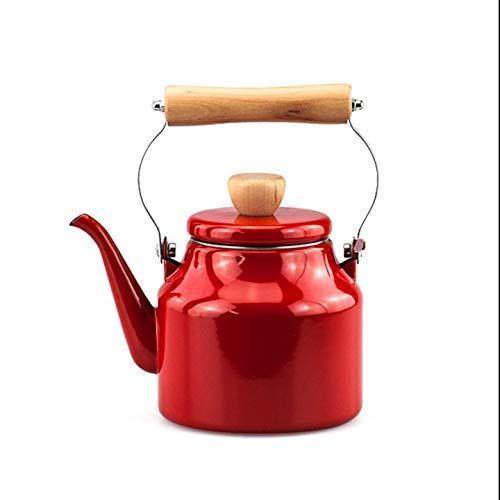 GJJSZ Bouilloire Kitchen,1,5 l,émail,Blanc/Rouge (Couleur:Blanc)