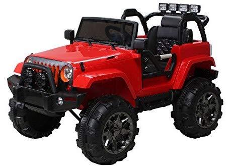 Actionbikes Motors Offroad Jeep Adventure - 2 x 35 Watt Motor - Reifen mit Weichgummiring - Fernbedienung - 2-Sitzer (Rot)
