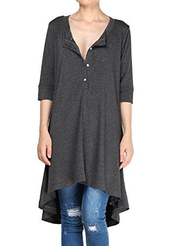 Mordenmiss Women's New Half Sleeve High Low Loose Tunic Tops (4XL//US 24W, Dark Grey)