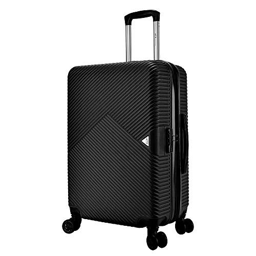 ATX Luggage Medium Super Lightweight Durable Expandable ABS Hardshell Hold Suitcases Trolley Case Hold Check in Travel Bags with 8 Wheels & Built-in Lock (24' Medium, Black)