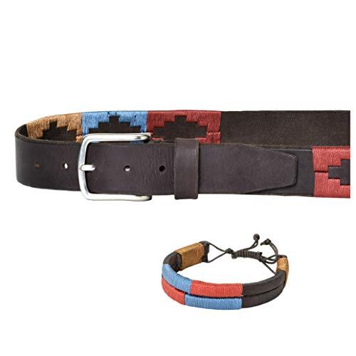 PELPE - Cinturón argentino de piel, con pulsera a juego. Cinturón bordado sobre el cuero, para hombre y mujer. Cinturones argentinos Polo