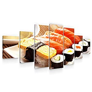 Startonight Large Canvas Wall Art Food – Sushi at Dinner – Huge Framed Modern Set of 7 Panels 40″ x 95″