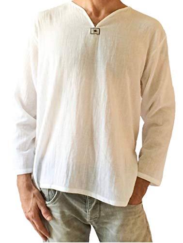 Love Quality Men's Summer T-Shirt 100% Cotton Thai Hippie Shirt V-Neck Beach Yoga Top (Medium, White)