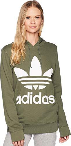 adidas Originals Trefoil Hoodie Sudadera con Capucha, Base Verde, XS para Mujer