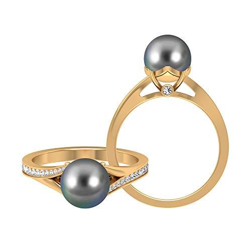 Anillo de compromiso de perlas de Tahití de corte redondo de 8 mm con moissanite, anillo de vástago dividido, oro de 14 quilates negro