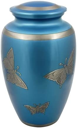 Silverlight Urns High material Classic Engraved Butterfly Urn Special sale item Brass in Blue A