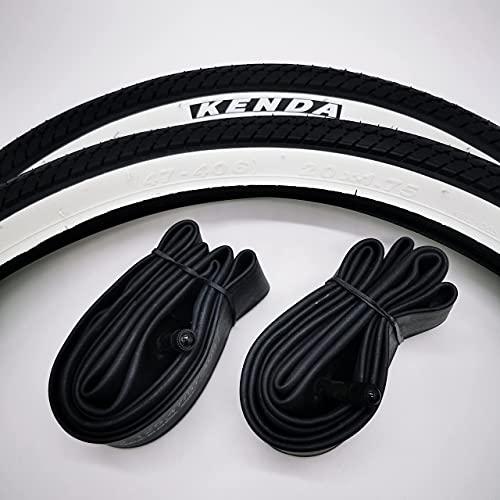 Kenda 2X Weißwand 20 Zoll | 47-406 | 20x1.75 mit AV-Schläuche Fahrrad Reifen Klapprad Cruiser Schwarz-Weiß