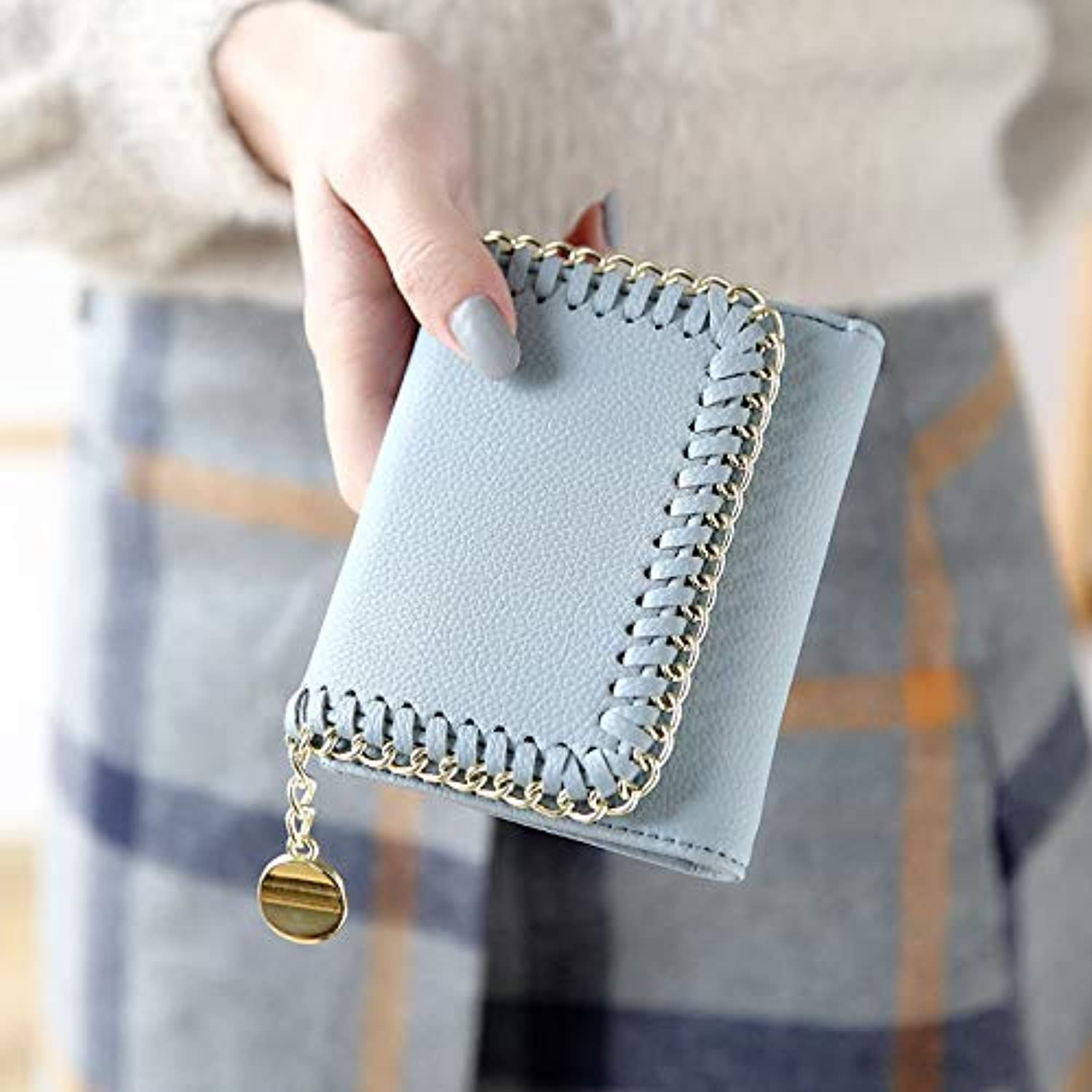 Women's Wallet Women's Short Paragraph Japanese and Korean Fashion Buckle MultiFunction Wallet Students LargeCapacity Woven Wallet (color   bluee) Ladies Purses (color   bluee)