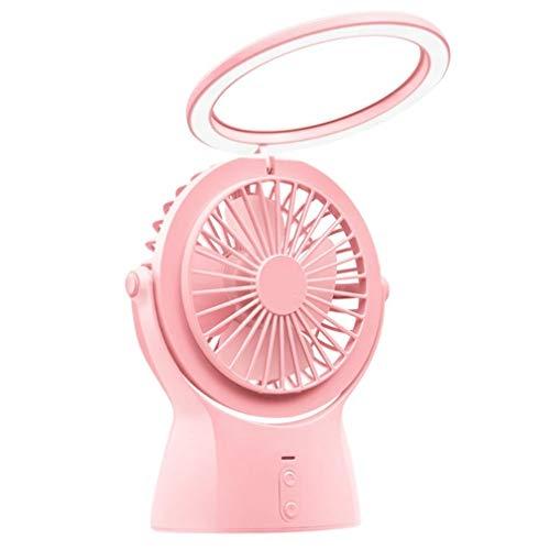 Hangende nekventilator Draagbare ventilator Kleine Nachtlampje USB Opladen Handheld Kleine Ventilator Binnen En Buiten Mini LED Tafellamp Ventilator Met Opladen Schat (Kleur : Roze)