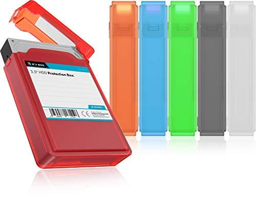 ICY BOX 6er Set Festplatten Box für 3,5 Zoll HDD zum Schutz oder Aufbewahrung, stapelbar, Beschriftung, Hardcase Hülle, Kunststoff, mehrfarbig