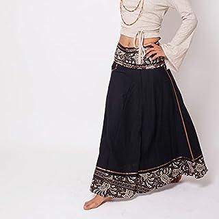 483694bba79 Handmade Bohemian Long Black Wrap Cotton Skirt