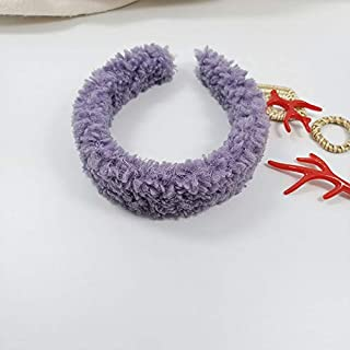 YJXUSHYQ Girls Winter Faux Fur Hair Hoop Womens Hair Accessories Cashmere Hairbands Lambswool Furry Headbands (Color : Pur...