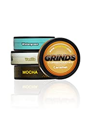 TOP 4-PACK: The Grinds Coffee Top 4 Flavors Sampler Pack allows you to try each of our top 4 coffee pouch flavors and discover which ones you like best. Our 4-can sampler includes one can each of Caramel, Vanilla, Wintergreen, and Mocha. NICOTINE-FRE...