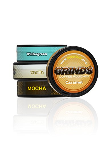 Grinds Coffee Pouches   Top 4 Flavors   Wintergreen, Vanilla, Mocha, Caramel   Tobacco Free, Nicotine Free Healthy Alternative   1 Pouch eq. 1/4 Cup of Coffee (Top 4 Flavors)