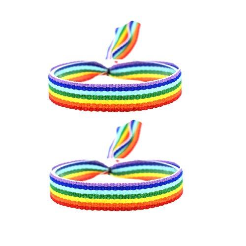 BDM Pulsera Bandera LGTBI, Orgullo Gay, de Tela con el arcoíris. - 2 Unidades