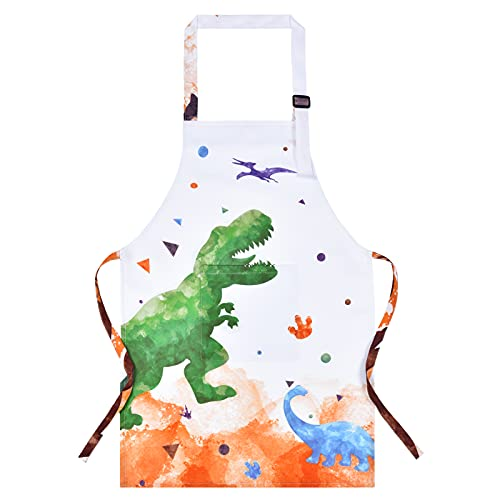 Dinosaur Kids Apron - Waterproof Polyester Aprons with Adjustable Strap and Pocket Kitchen Chef Bib Aprons for Children Boys Cooking Baking Painting Party Christmas Birthday Gifts (Medium, 8-12 Years)