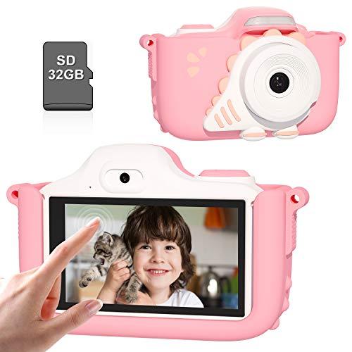 Kriogor Macchina Fotografica Bambini, 24MP 1080P HD Fotocamera Bambini Portatile Obiettivo Doppio 32GB Carta TF con Touchscreen da 3,0 Pollici LCD 3-12 Anni Ragazza Ragazzo Natale Regalo (Rosa)