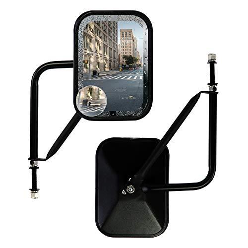 Doors Off Mirrors Compatible with Jeep Wrangler CJ YJ TJ JK JL & Unlimited,Anti-shake and Wider View Mirror Door Off Easier Install Door Hinge Mirror